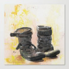 Boots in the Hall - Boots drying by the Fire in Winter Canvas Print