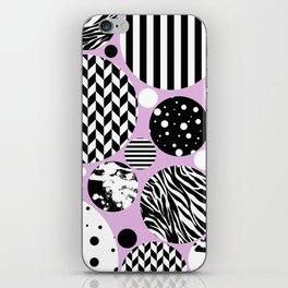 Eclectic Black And White Circles On Pastel Pink iPhone Skin