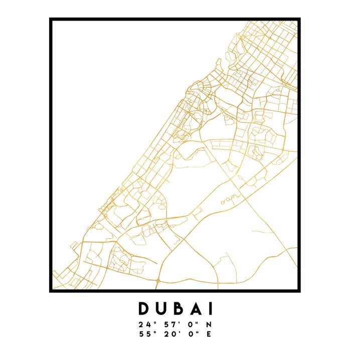 DUBAI UNITED ARAB EMIRATES CITY STREET MAP ART Comforters