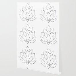 Silver Foil Lotus Flower Wallpaper