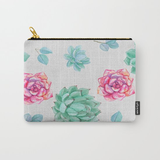 Summer Wildflowers & Succulents Carry-All Pouch
