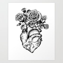 Roses and heart Art Print