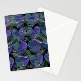 Blue Ombre Heart and Cold Kisses Pattern On Black Stationery Cards