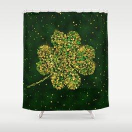 Irish Shamrock Four-leaf Lucky Clover Shower Curtain