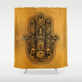 Happiness Hamsa Hand Metallic Gold Shower Curtain