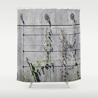 the wire Shower Curtains featuring Wire Trellis  by Ethna Gillespie
