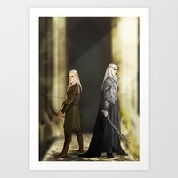 legolas Art Prints featuring Legolas & Thranduil by rdjpwns