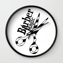 Barber Magic - black and white Wall Clock