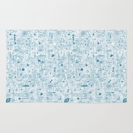 Blue and White Space Inspired Futuristic Pattern Rug
