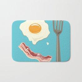 bacon & eggs, blue Bath Mat