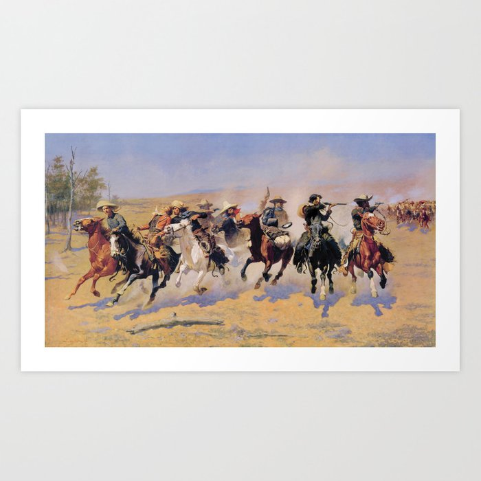 A Dash For The Timber Frederic Remington Art Print by Restored Art And History - X-LARGE
