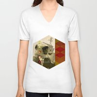 fez V-neck T-shirts featuring hal by Rosa Picnic