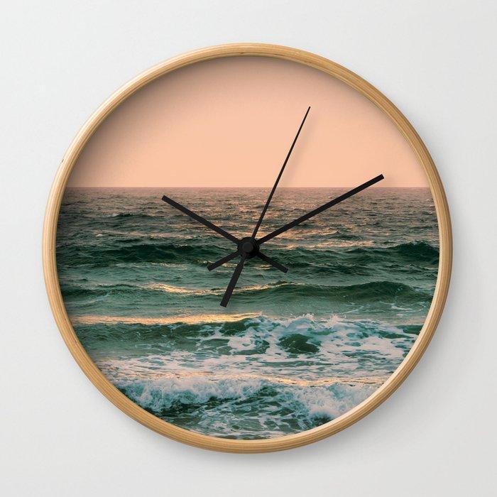 Pink Skies Ocean Vibes Wall Clock