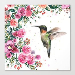 Hummingbird and Flowers Watercolor Animals Canvas Print