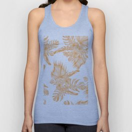 Island Vacation Hibiscus Palm Coral Orange Unisex Tank Top