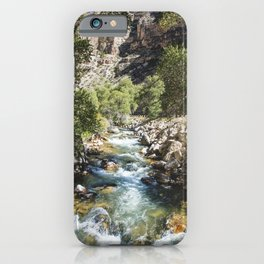High-country stream and cottonwoods in rugged north-central Wyomings rugged Big Horn County iPhone Case