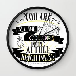 All The Bright Places by Jennifer Niven Book Quote Typography Wall Clock