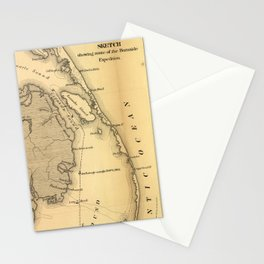 Vintage Map of The Outer Banks (1862) Stationery Cards