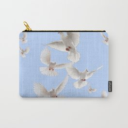 WHITE PEACE DOVES IN SKY BLUE COLOR Carry-All Pouch