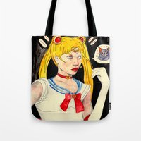 sailor moon Tote Bags featuring sailor moon by withapencilinhand