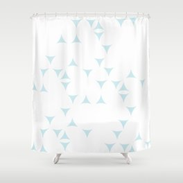 White_Blue_Triangles Shower Curtain
