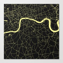 London Black on Yellow Street Map Canvas Print