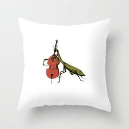 Praying Mantis Tries Cello Throw Pillow