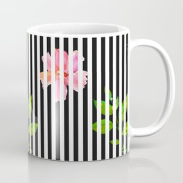 Geometrical black white stripes pink floral Coffee Mug