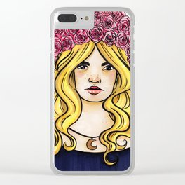 Crown of Roses Marker Drawing by Grimmiechan Clear iPhone Case