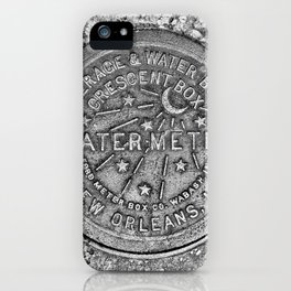 New Orleans Water Meter Louisiana Crescent City NOLA Water Board Metalwork Grey Silver iPhone Case