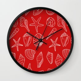 Red and white seashells pattern Wall Clock