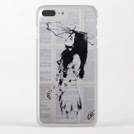 Girl with sunshade Clear iPhone Case
