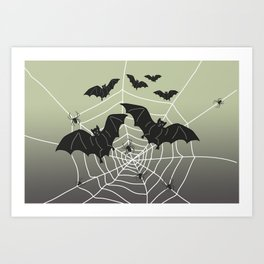 Bats with Spider Web in Background Art Print