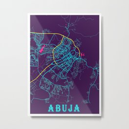 Abuja Neon City Map, Abuja Minimalist City Map Art Print Metal Print