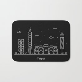 Taipei City Minimal Nightscape / Skyline Drawing Bath Mat