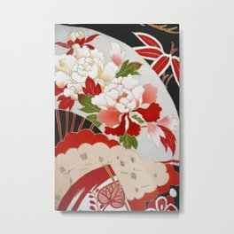 Japanese Floral Wedding Kimono Pattern Metal Print