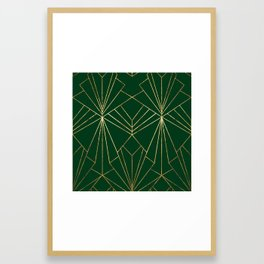 Art Deco in Gold & Green - Large Scale Framed Art Print