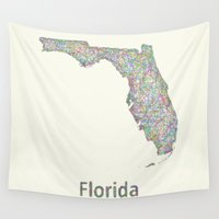 florida Wall Tapestries featuring Florida map by David Zydd