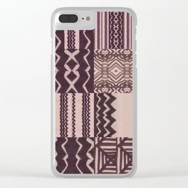 Patchwork Geometric Print in Black, Grey & White Clear iPhone Case