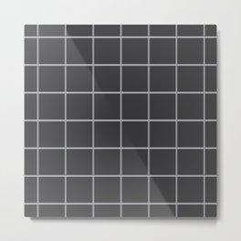 Charcoal Windowpane Check Metal Print