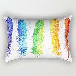 rainbow mandala feathers Rectangular Pillow
