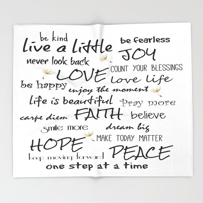Life Quote Affirmations Throw Blanket