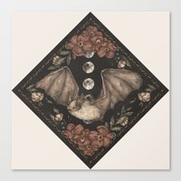 bat Canvas Prints featuring Bat  by Jessica Roux