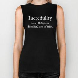 Incredulity:English:White Text Biker Tank