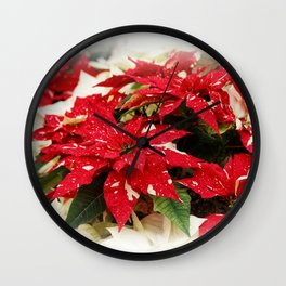 Shimmer Surprise Poinsettias Wall Clock