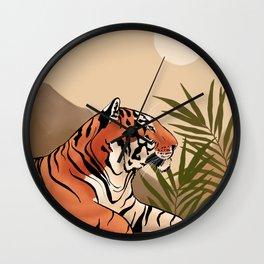 Tiger Boho Landscape Wall Clock