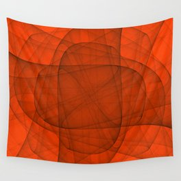 Fractal Eternal Rounded Cross in Red Wall Tapestry