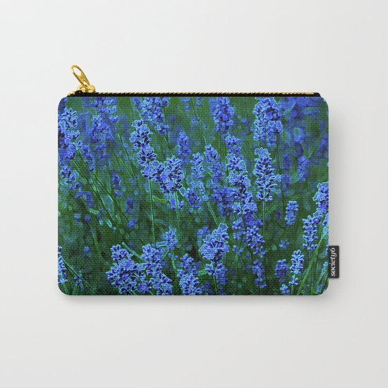 Glowing Blue Floral Carry-All Pouch