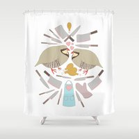 cooking Shower Curtains featuring Cooking Birds by April Yim