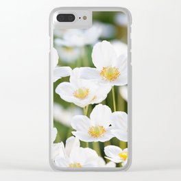 White Poppies Natural Green Bokeh Background #decor #society6 #buyart Clear iPhone Case